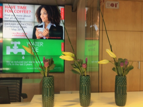 "My standard ""what do the flowers at the CTICC reception desk look like today"" photo. Bright tulips are always a win."
