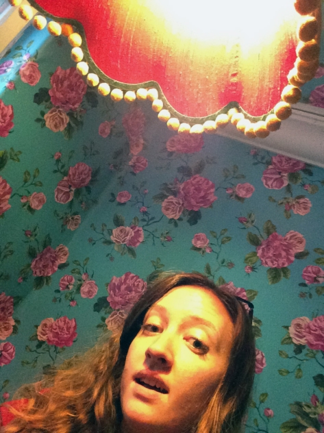 Could not resist a photo of the bathroom at Bean There. Do you SEE the amazing wallpaper It's even on the ceiling. And the lampshade? Priceless.