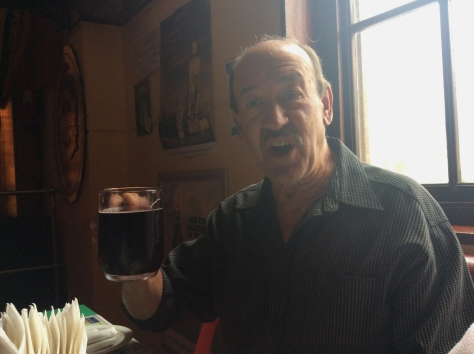 Cheers-ing dad's Catemba - red wine mixed with cola.