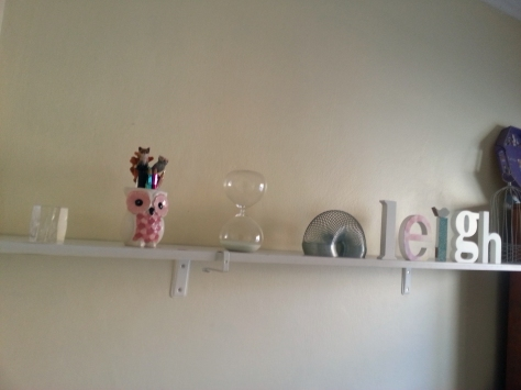 Later that afternoon, Husband finished all the little DIY tasks in the study, including putting up this shelf, nailing all of our academic certificates onto the 'wall of clever' and sorting out my enormous pinboard of paper mementos. Tick!