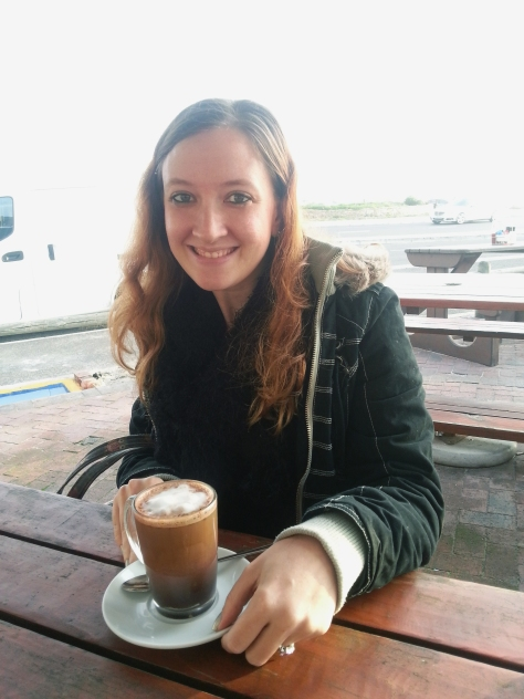 I had a cafe mocha. Lovely mix of coffee and hot choc. The seagull had winged his way further up the coastline by then.