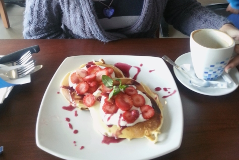 While at News Cafe we'd both spotted yummy sounding things on their breakfast menu, so we returned on Sunday morning. This is my strawberry cheesecake flapjacks and (empty) cappuccino cup...