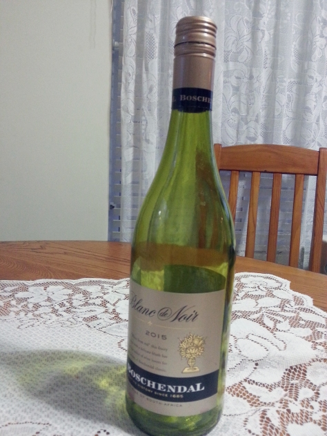 The bottle the others sampled during lupper; I was still on flu meds, but it was a lovely peachy colour.