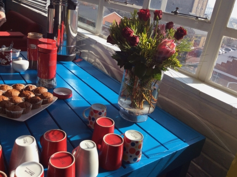 My team had newsroom training at the Bright Day space in Woodstock - this tea set-up was so pretty. (See, more Proteas).