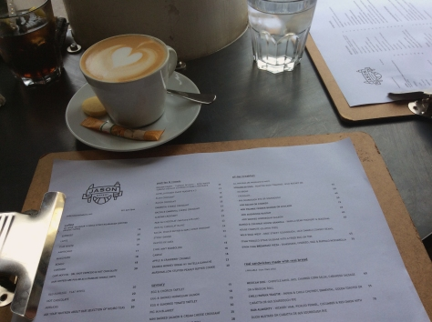 The menu's printed daily at Jason Bakery, as the dough-ssant option changes daily. Look at my beautiful cappuccino.