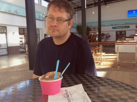 The least smiley Husband. He was really quite pleased with his ice cream, promise.