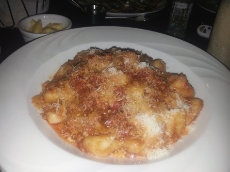 The best gnocchi bolognaise, covered in parmesan and chilli.