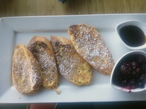 My french toast would have been just R25 if I didn't add a portion of summer berries for R15. So glad I did, they were tart and tasty.