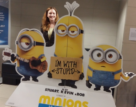 But first, BELLO! :) Yes that's me, front and centre with minions Stuart, Kevin and Bob - we finally watched the movie this time, unlike the last time I posed with them.
