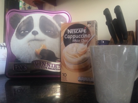 For tea, this combination did the trick. The box of 'biscwits' was more for the smug expression on panda Vinnie's face, but they were delicious too. Yes, 'were' - meaning all gone now.