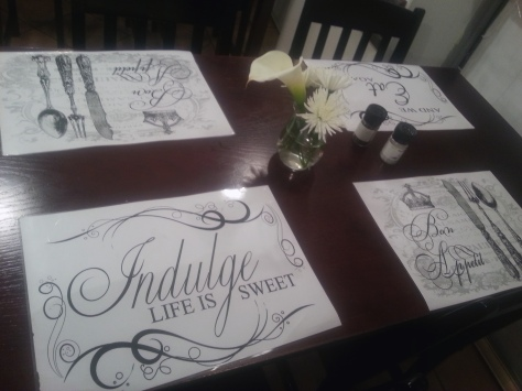 I loved the place mats at Simply Delicious, the 'home-cooked meals' outlet we stopped at on Monday night.