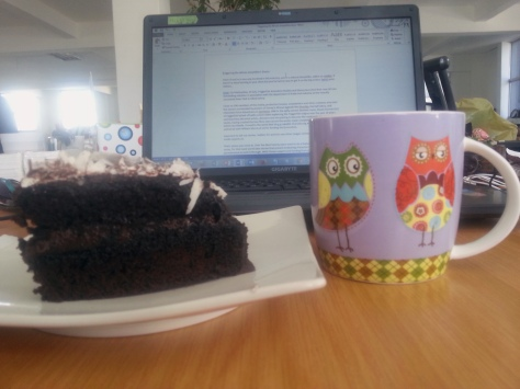Back in the office, the chocolate cake in the coffee shop downstairs was calling my name. Well worth the R15 I parted with for it. The owlie mug was not impressed.