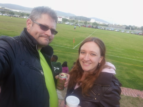 Taking a local rugby selfie, as we do... that's a beer for Husband and a cappuccino for me.