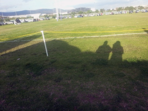 Even our shadows came along to watch the fun on the field.