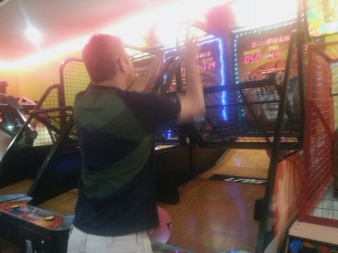 Not something we do often, but fun to spend some time in the games arcade after breakfast. I liked the spider-tap dance game, Husband enjoyed riding a speedboat of sorts.