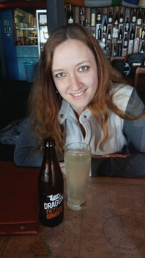 That's me, with my Dragon Fiery Ginger Beer - 5% alcohol, like a normal beer.