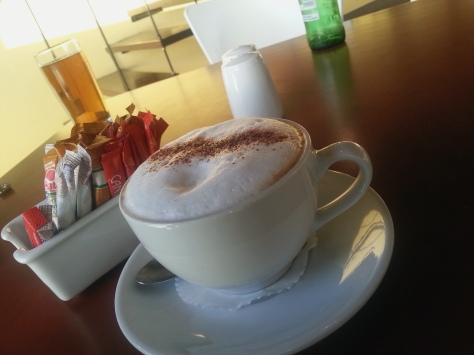 And of course, to end off, a cappuccino for me. Not often that you get a chocolate powdered one, these days.