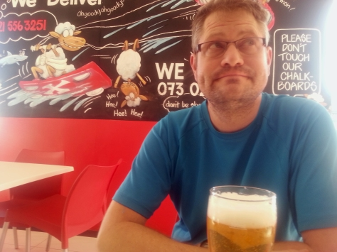For our Sunday afternoon treat we stopped in at Schwarma Express right on the beach. Husband had a draught...