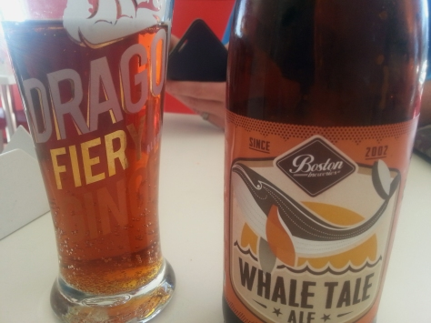 I tried the 'Whale Tale Ale' with carmel hints as there were no bottles of Van Hunks pumpkin cinnamon stuff. Interesting flavour but still a beer, if only 3.5% alcohol...