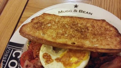 The Mugg & Bean breakfast sammich. I ate it all.