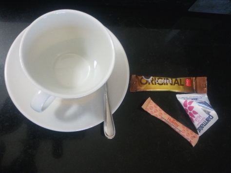 Morning coffee, hotel room-style. Loved the triangular milk boxies, enough for a cuppa each.