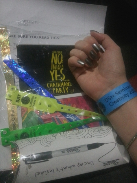 We headed back to the ICC and received our media packs, complete with each event's arm bands - some had to stay on the entire trip.