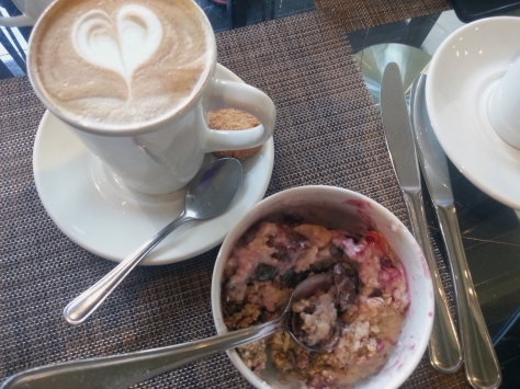 Monday breakfast at the hotel. A heart in my coffee and a cereal/berries/nuts/oats mix in my bowl.