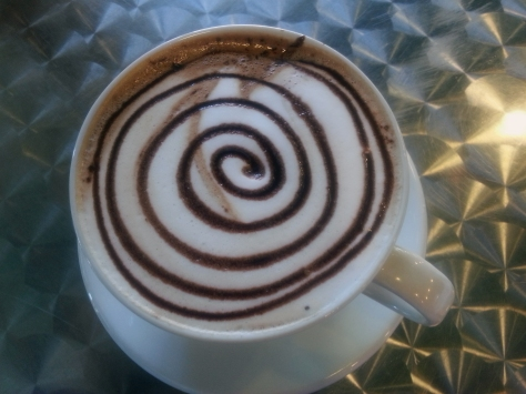 I love the way the peppermint choc syrup is swirled onto the medium latte at Reload.