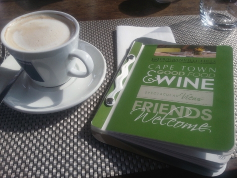 My cappuccino and the tiny Durbanville Hills menu - packed with tasty options.