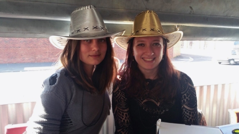 It was so sunny and bright that we pulled the blinds down - then there was too much light on the other side of the table. So we reached a happy compromise by wearing hats. Metallic. Cowboy-style. Obvs.