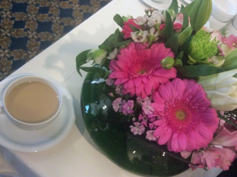 Pink, pink flowers during morning tea at the Table Bay Hotel.