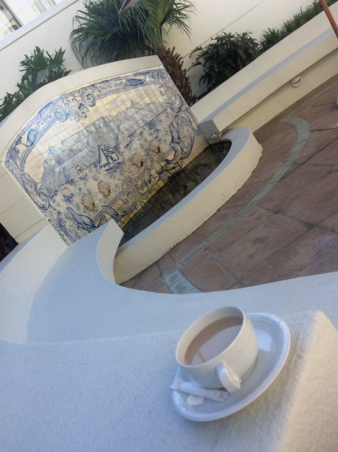 Pre-conference coffee in the quiet outside section at the Table Bay Hotel. Interesting water feature.