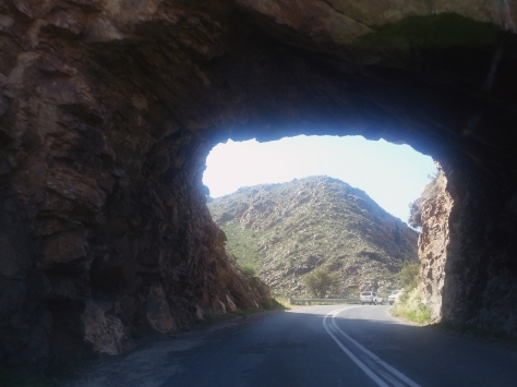 A little further down the road you go through this hole in a mountain to reach the town of Montagu.