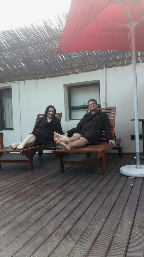 Our deck-facing room meant we had access to a jacuzzi, too - here we are in our brown hotel room gowns.