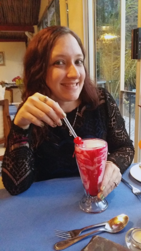 We dined in the main restaurant at the resort that night as reception gave us R30 discount vouchers each - just look at how much pinkness was involved in my strawberry milkshake! Even with a glace cherry on top.