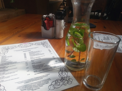 Lovely flavoured water for the table when we stopped in at the Rambling Rose for late lunch.