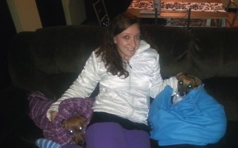 Bassie Andrews in a blanket.