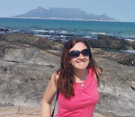 Walking on rocks by Table Mountain