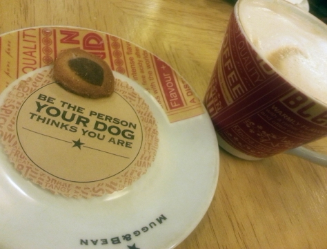 Mugg&Bean coffee coaster says to be the person your dog thinks you are.