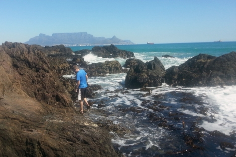 Leigh's Husband in the rockpools at Blouberg beach
