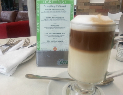 A latte at Greens coffee shop in Plattekloof Village Shopping Centre