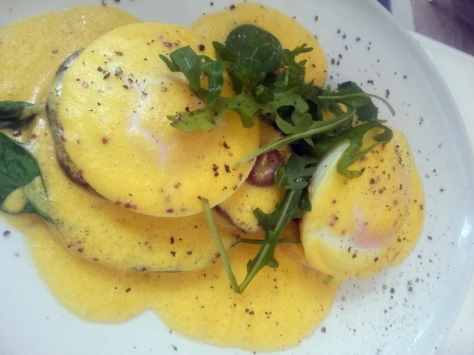 eggs benedict with spinach and mushrooms at Greens