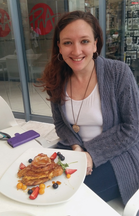 Leigh with French toast and berries and bacon at Greens in Plattekloof Village Shopping Centre