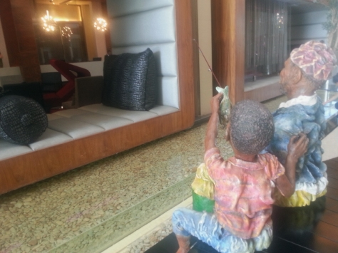 Fishing sculpture in African Pride Crystal Towers hotel