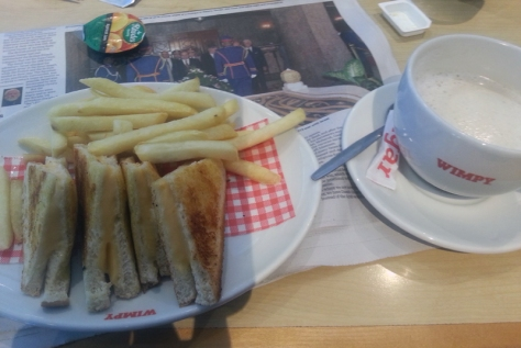 Wimpy toasted cheese and mega coffee