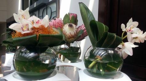 Flowers in vases at Lagoon Beach Hotel