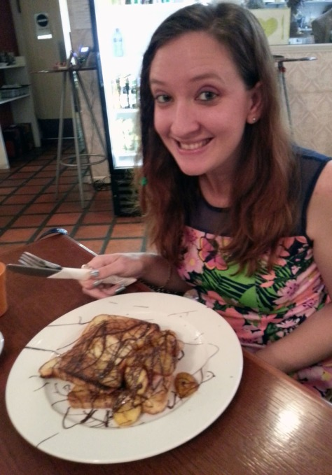 French toast with bacon, banana and chocolate at Rococoa