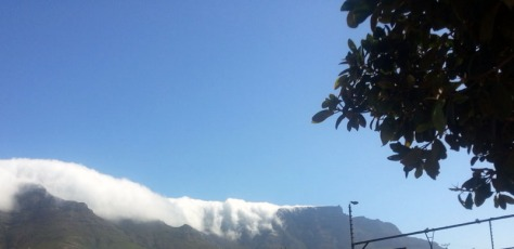 Table Mountain covered in cloud.