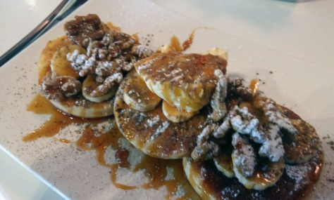 Flapjacks with walnuts, banana and marscapone at Eden Cafe