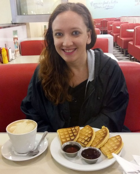 Waffle and cappuccino at Joe's Diner in Canal Walk